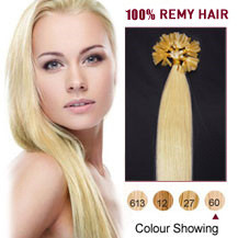 20 inches White Blonde (#60) 100S Nail Tip Human Hair Extensions