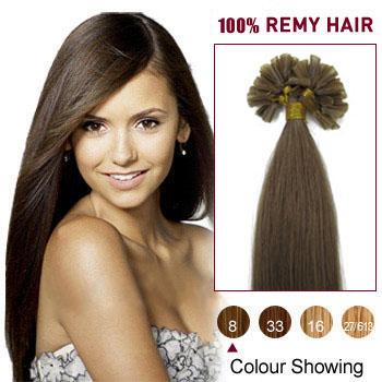 16 inches Ash Brown (#8) 100S Nail Tip Human Hair Extensions