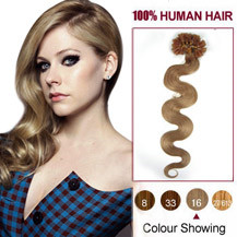 18 inches Golden Blonde (#16) 100S Wavy Nail Tip Human Hair Extensions