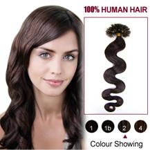 16 inches Dark Brown (#2) 100S Wavy Nail Tip Human Hair Extensions