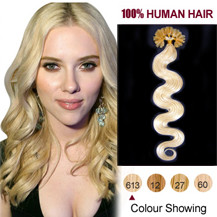 16 inches Bleach Blonde (#613) 100S Wavy Nail Tip Human Hair Extensions