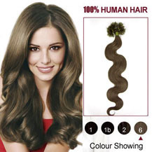 16 inches Light Brown (#6) 100S Wavy Nail Tip Human Hair Extensions
