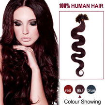 20 inches 99J 100S Wavy Nail Tip Human Hair Extensions