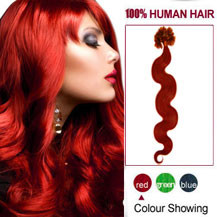 16 inches Red 100S Wavy Nail Tip Human Hair Extensions