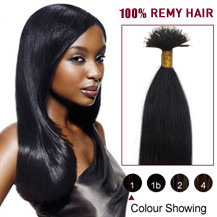 18 inches Jet Black(#1) Nano Ring Human Hair Extensions