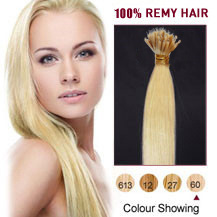 "18"" White Blonde(#60) Nano Ring Hair Extensions"