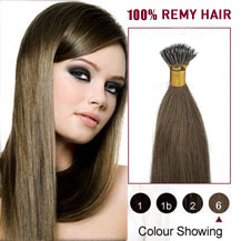 "22"" Light Brown(#6) Nano Ring Hair Extensions"