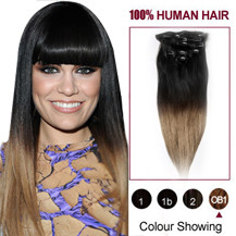 22 inches Two Colors #1b And #14 Straight Ombre Indian Remy Clip In Hair Extensions