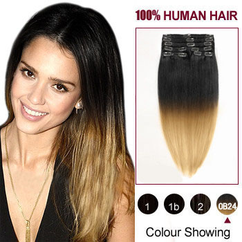 16 inches Two Colors #1b And #27 Straight Ombre Indian Remy Clip In Hair Extensions