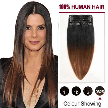 16 inches Two Colors #1b And #30 Ombre Indian Remy Clip In Hair Extensions