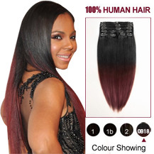 22 inches Two Colors #1b And #443 Straight Ombre Indian Remy Clip In Hair Extensions
