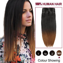 22 inches Two Colors #2 And #10 Straight Ombre Indian Remy Clip In Hair Extensions
