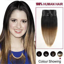22 inches Two Colors #2 And #14 Straight Ombre Indian Remy Clip In Hair Extensions