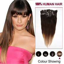 22 inches Three Colors #2 And #4 And #613 Ombre Indian Remy Clip In Hair Extensions