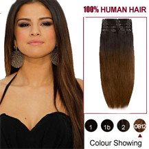 "16"" Two Colors #2 And #4 Straight Ombre Indian Remy Clip In Hair Extensions"