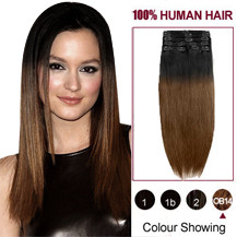 22 inches Two Colors #2 And #6 Straight Ombre Indian Remy Clip In Hair Extensions