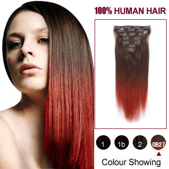 16 inches Two Colors #4 And Red Straight Ombre Indian Remy Clip In Hair Extensions
