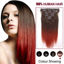 22 inches Two Colors #4 And Red Straight Ombre Indian Remy Clip In Hair Extensions