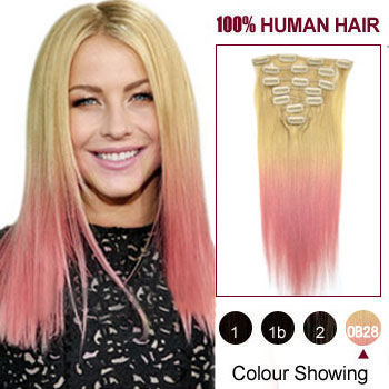 16 inches Two Colors #613 And Pink Straight Ombre Indian Remy Clip In Hair Extensions