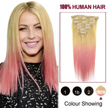 22 inches Two Colors #613 And Pink Straight Ombre Indian Remy Clip In Hair Extensions