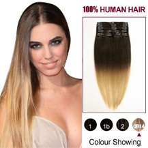 "16"" Two Colors #6 And #27 Straight Ombre Indian Remy Clip In Hair Extensions"