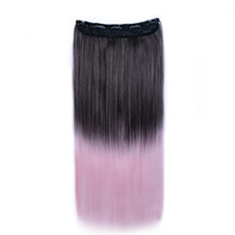 24 inches Ombre Colorful Clip in Hair Straight 3# Black/Pink-White 1 Piece