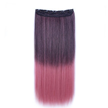 24 inches Ombre Colorful Clip in Hair Straight 4# Black/Rosy 1 Piece