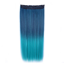 """24"""" Ombre Colorful Clip in Hair Straight 7# Dark-Blue/Peacock-Green 1 Piece"""