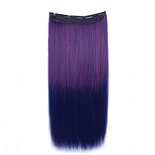 24 inches Ombre Colorful Clip in Hair Straight 11# Rose/Blue 1 Piece