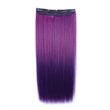 24 inches Ombre Colorful Clip in Hair Straight 12# Rose/Dark-Purple 1 Piece