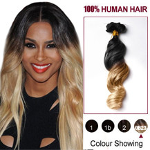 20 inches Two Colors #1b And #27 Wavy Ombre Indian Remy Clip In Hair Extensions