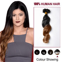 20 inches Two Colors #1b And #30 Straight Ombre Indian Remy Clip In Hair Extensions