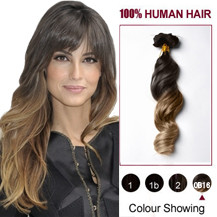 20 inches Two Colors #2 And #14 Wavy Ombre Indian Remy Clip In Hair Extensions