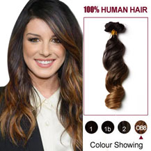 18 inches Two Colors #2 And #27 Wavy Ombre Indian Remy Clip In Hair Extensions