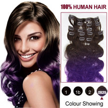 18 inches Two Colors #4 And Lila Wavy Ombre Indian Remy Clip In Hair Extensions