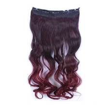24 inches Ombre Colorful Clip in Hair Wavy 18# Black/Bug 1 Piece
