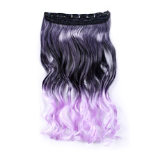24 inches Ombre Colorful Clip in Hair Wavy 20# Black/Lavender 1 Piece