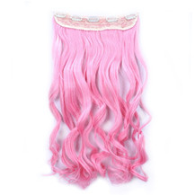 24 inches Ombre Colorful Clip in Hair Wavy 23# Pink/Pink 1 Piece
