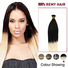 16 inches Ombre #1/613 50S Stick Tip Human Hair Extensions Straight