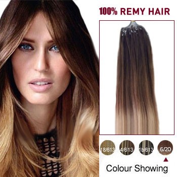 16 inches Ombre(#6/20) Micro Loop Human Hair Extension
