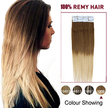 "16"" Ombre (#12/20) Tape In Human Hair Extensions"
