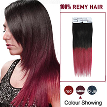 22 inches Ombre (#1B/Bug) Tape In Human Hair Extensions