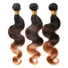 3 set bundle #1B/4/27 Ombre Body Wave Indian Remy Hair Wefts 12/14/16 Inches