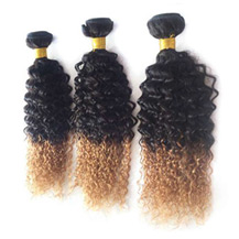 3 set bundle #1B/27 Ombre Curly Indian Remy Hair Wefts 12/14/16 Inches