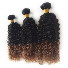 3 set bundle #1B/30 Ombre Curly Indian Remy Hair Wefts 18/20/22 Inches