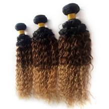 3 set bundle #1B/4/27 Ombre Curly Indian Remy Hair Wefts 12/14/16 Inches