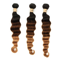 3 set bundle #1B/4/27 Ombre Deep Wave Indian Remy Hair Wefts 18/20/22 Inches