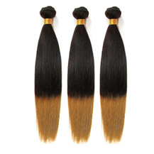 3 set bundle #1B/27 Ombre Straight Indian Remy Hair Wefts 12/14/16 Inches