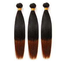 3 set bundle #1B/30 Ombre Straight Indian Remy Hair Wefts 10/12/14 Inches