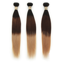 3 set bundle #1B/4/27 Ombre Straight Indian Remy Hair Wefts 12/14/16 Inches